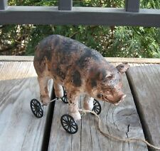 PIG Hog Piggy PULL TOY Statue*Primitive/French Country Farmhouse Barn Decor