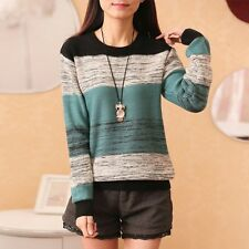 Women's Chic  Blue Patchwork Ladies Worsted Sweater