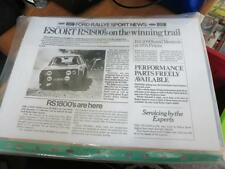 FORD mk2 ESCORT RS1800 RS 1800 - NEWSLETTER 1975 - RARE RALLY BROCHURE