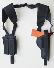 Vertical Shoulder Holster for GLOCK 19, 23 & 38 with DOUBLE MAGAZINE POUCH