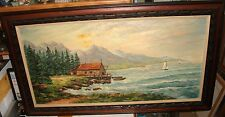H.RIEK FISHERMAN ON DOCK SAIL BOATS SEASCAPE HUGE OIL ON CANVAS PAINTING