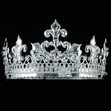 Men Silver King Crown Medieval Pageant Wedding Full Circle Party Tiara T1714