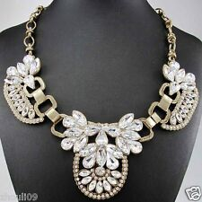Newest Design huge Lady Statement crystal chunky chain charm coin necklace q303