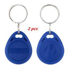 2 Pcs Proximity ID EM4100 Blue RFID Keyfobs Tag 125Khz Key Token NEW Chain