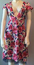 Free People Pink Blue Roses Floral Crinkle Silk Tulle Deep V Dress Size 8
