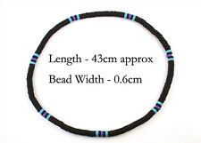 Black Blue Purple Natural Wood Bead Surf Necklace Tribal Mens Womens Beach