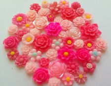 25 x mixed pink flower cabochons cardmaking,scrapbooking
