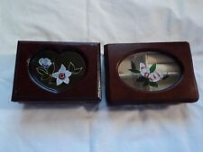 BEAUTIFUL SMALL JEWELRY BOXES 2 WITH ETCHED FLOWERS IN THE GLASS TOP
