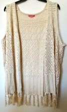 NEW Women's 2X Fit 3X Beige Tunic Cardigan Sweater Vest Bust 60 WOMAN WITHIN
