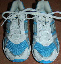 NEW Sz 5 Reebok White & Sky Blue lace up Trainers Silver trim School Sports