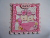 PACK 2 PRETTY PINK TWIN GIRLS EMBELLISHMENT TOPPERS  FOR CARDS & CRAFTS