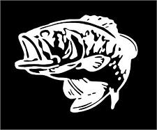 WHITE Vinyl Decal Bass fish large mouth fishing boat lake truck sticker