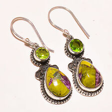 "STICHTITE , FACETED PERIDOT  925 STERLING SILVER EARRINGS 1.5""'"
