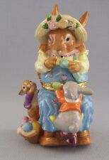 "CWC Hinged Trinket Box Rabbit Bunny Mother Knitting Kids Collectible 7"" Tall"