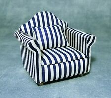 Blue & White Sofa Chair ,  Doll house furniture Miniature 1:12 Scale settee