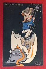 CPA. Illustrateur FERNEL. Oeuf à la Coque. Mat. Fond Noir. 1904.