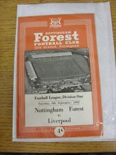 08/09/1962 Nottingham Forest v Liverpool  . This item has been inspected, any an