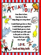Dr Seuss Lorax Cat Hat Baby Shower or Birthday Party Thank You Note Cards Custom