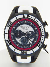 Mulco Men's MW5-1836-028 Titan Wave Collection Chronograph Black Silicone Watch