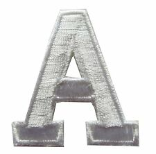 """1-3/4"""" Beige White Letter """"A"""" Embroidery Iron On Appliqué Patch/Old Stock"""
