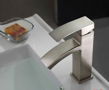 Deck Mounted Waterfall Brushed Nickel Faucet Deck Mounted Vanity Sink Mixer Tap