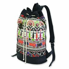 Catori Beige Brights Floral Bohemian Chic Aztec Drawstring Backpack Tote Bag New