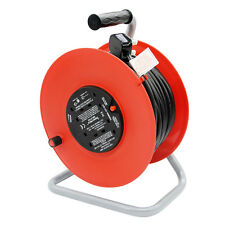 HEAVY DUTY 50M MAINS EXTENSION CABLE REEL FREESTANDING 4 SOCKET LEAD 13A 240V