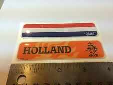 "Holland KNVB Flag Domed Decal Emblem  Car Flexible Sticker 4""x1"" Set of 2"