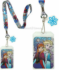 Disney Frozen Elsa and Anna Stained Glass SNOWFLAKE ID Card Pin Holder Lanyard