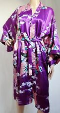 (800137)Purple Ladies Oriental Satin Silk Feel Kimono Robe Dressing Gown 10-12UK