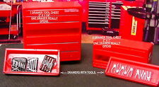 TWO RED TOOLS BOXES WITH OPENING DRAWERS W/TOOLS GARAGE DIORAMA 1:24(G)Scale