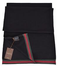New Gucci Men's 327377 Black Wool Red Green Web Trim Scarf Muffler