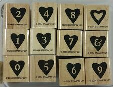 Stampin' Up! ALPHAHEART NUMBERS Rubber Stamps - Set of 12 Alphabet Hearts Love