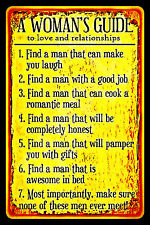 *A WOMAN'S GUIDE* METAL SIGN 8X12 BAR FUNNY WOMAN CAVE OFFICE BAD BOSS DIVORCE