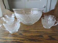 Indiana Glass Sandwich pattern Punch Bowl and 5 cups