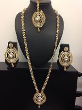 Latest Bollywood Indian Necklace Earrings Tikka Jewellery Set -F2