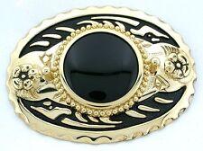 Gold Color Oval Western Natural Black Onyx Cabochon Cab Gem Belt Buckle PBB100
