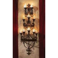 Symphony of Light Wall Mounted Matte Black Metal Scroll Candle Chandelier Sconce