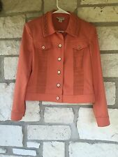 St John Sport Women's Coral Basic Jacket SZ S Cotton Stretchy Long Sleeve Casual