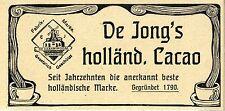 De Jong's Cacao * Anerkannt beste holländische Marke * Historische Annonce 1906