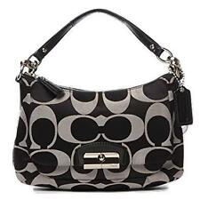 COACH KRISTIN ~ Black/White Sateen Signature East-West Hobo Bag #22302