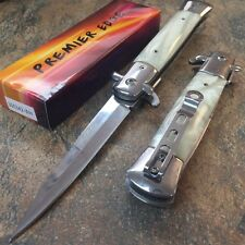 "9"" Italian Stiletto Tactical Spring Assisted Open Pocket Knife White 300342-WH"