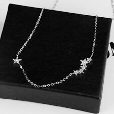 Charms Women's 925 sterling silver small crystal star Pendant Necklace jewelry A