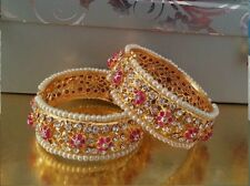 Indian Jewelry  Bangles. Gold Finish. Ruby Pink Beads. Kada 2.6 2.8