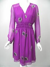 REBECCA TAYLOR Grape Purple Gray Floral Print Beaded Silk Chiffon Dress sz 6