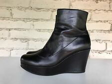 EUC Marc by Marc Jacobs US 9.5 Black Wedge Platform Leather Bootie Boots $465
