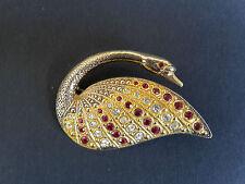 Brosche Schwan  925 Silber Teilvergoldung Steine