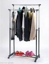 DOUBLE HEAVY DUTY RAIL ADJUSTABLE PORTABLE CLOTHES HANGER ROLLING GARMENT RACK