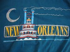 Vintage New Orleans Steam Boat Vacation Tourist Blue Adult T Shirt M