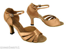 1680 Brown Satin Swing Salsa Mambo Latin Dance Shoes heel 3 Size 7 Very fine